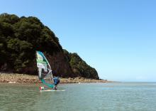 Departing the wooded cliffs of Clovelly