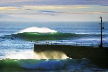 Porthleven's beautiful green wave