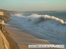 Big shorebreak on Porthleven beach