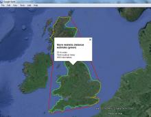 A reasonable estimate at a theoretical shortest distance (with route 1 passage up Irish sea)